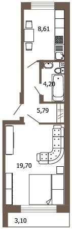 Планировка Однокомнатная квартира площадью 51.13 кв.м в ЖК «Молодежный квартал»