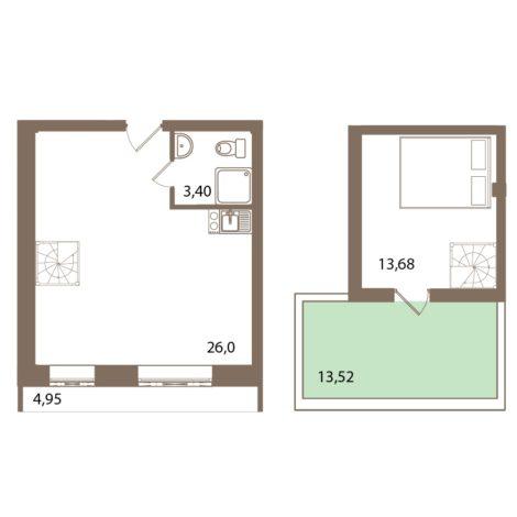 Планировка Двухкомнатная квартира (Евро) площадью 55.23 кв.м в ЖК «Молодежный квартал»
