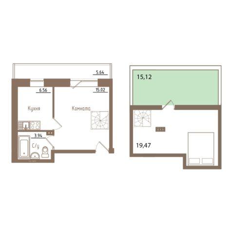 Планировка Двухкомнатная квартира площадью 58.31 кв.м в ЖК «Молодежный квартал»